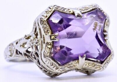 - 14K Solid White Gold Fancy Cut Amethyst Ornate Filigree Cocktail Ring Size 5