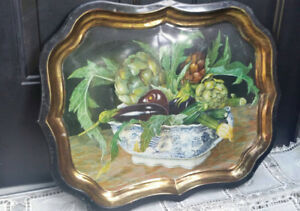 Vintage Metal Toleware Hand Painted Tray by Stephanie Hoppen