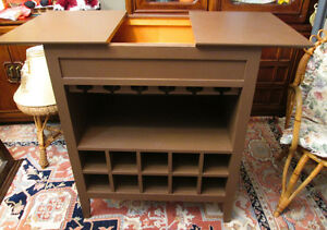 All Wood Dark Brown Wine Rack or Cabinet/ hidden storage section