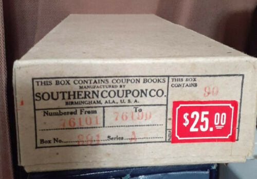 Box of Coal Mining Scrip Coupon Books  #90 count