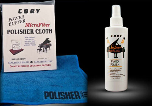 Cory Super High Gloss Piano and Furniture Polish 8 oz with Polisher Cloth