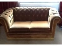 2 seater gold/mustard fabric Chesterfield sofa