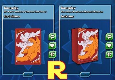 Elite Reshiram & Charizard Sleeves & Deck Box Pokemon TCG Online (ptcgo in Game)
