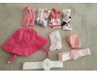 Baby clothes/accessories- 30 pieces- sunhat, bibs, hairbands, mittens, socks