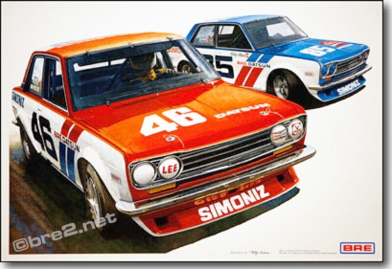 "BRE Datsun 510s w/Famed #46 and Guest Car (19""x13"") sold by Peter Brock BRE!"