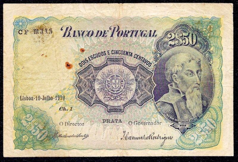 Portugal  2 Escudos 50 Centavos 2$50  1920 P-119