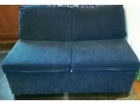 2 seater sofa bed. Blue.