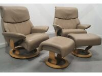 Ekornes Stressless 2 x swivel recliner leather chairs and Stools 1712203