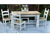 Farmhouse table and 4 chairs, refurbished in Annie Sloan Pure - (white)