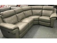 Grey leather electric recliner corner + 2 seater sofa