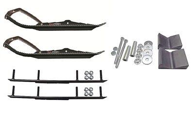 "C&A Pro Black BX Snowmobile Skis w/ 6"" Round Bars Complete Kit"