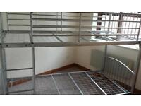 Metal frame bunk bed silver good condition
