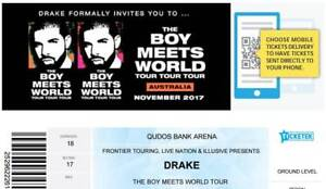 2 x Drake tickets - retail price - Front row -7th Nov -
