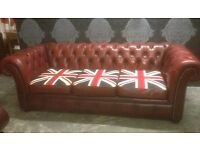 Stunning Chesterfield 3 Seater Sofa Oxblood Red & Union Jack Leather