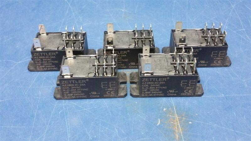 (5) Zettler AZ2800 Series 30A DPDT 24-VAC Chassis Mount Miniature Power Relay