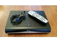Sky plus hd box with remote, hdmi, and power cable