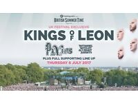2 x Kings of Leon and the Pixies British Summer Time Hyde park tickets (General Admission) 6th July