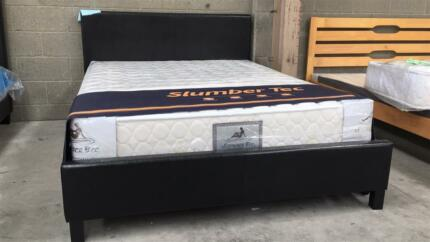 NEW PU Leather Metal Beam Bed Frame Black/White