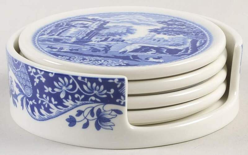 Spode Blue Italian (5pc) Coaster Set (4 Coaster & Holder) 11798652