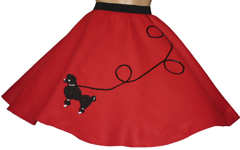 "Red FELT Poodle Skirt _ Girl Size MEDIUM (Ages 7-9) _  Waist 20""- 27"" _ L: 20"""