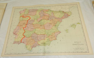 1908 Rand McNally MAP of SPAIN & PORTUGAL/Huge 20.5x28