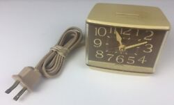 VINTAGE ALMOND WESTCLOX  ELECTRIC ALARM CLOCK  Model 22191 MINIKIN II