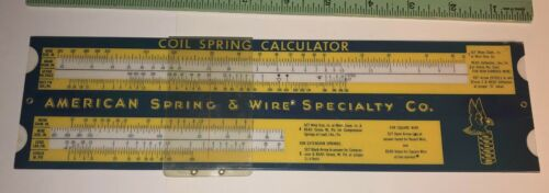 Vintage Slide rule American spring and wire Specialty co Coil spring calculator