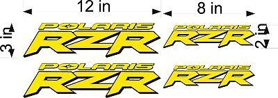 Polaris Logo Rzr   4 Pack   Yellow   Vinyl Atv Emblem Graphic Decal Sticker Pack