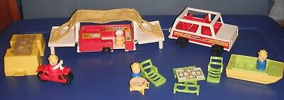 Fisher Price Little People Vintage Play Family Car, Pop-Up Camper Comp. Set #992