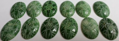 12 Vintage 18x13mm Hand Carved Green Serpentine Cabochons GemStone Cab 64.8 Cts