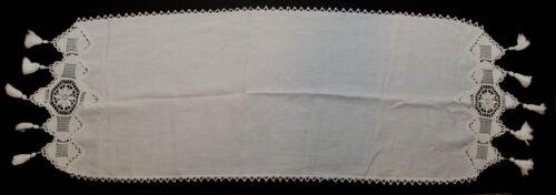 """Vintage Linen Table Runner Crochet Lace Border White Cream Doily 50"""""""
