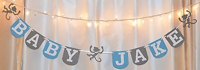 Monkey Baby Shower Decorations (its a boy baby shower blue/grey monkey custom name hanging banner)