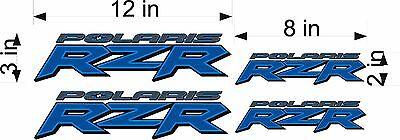 Polaris Logo Rzr   4 Pack   Blue   Vinyl Atv Emblem Graphic Decal Sticker Pack