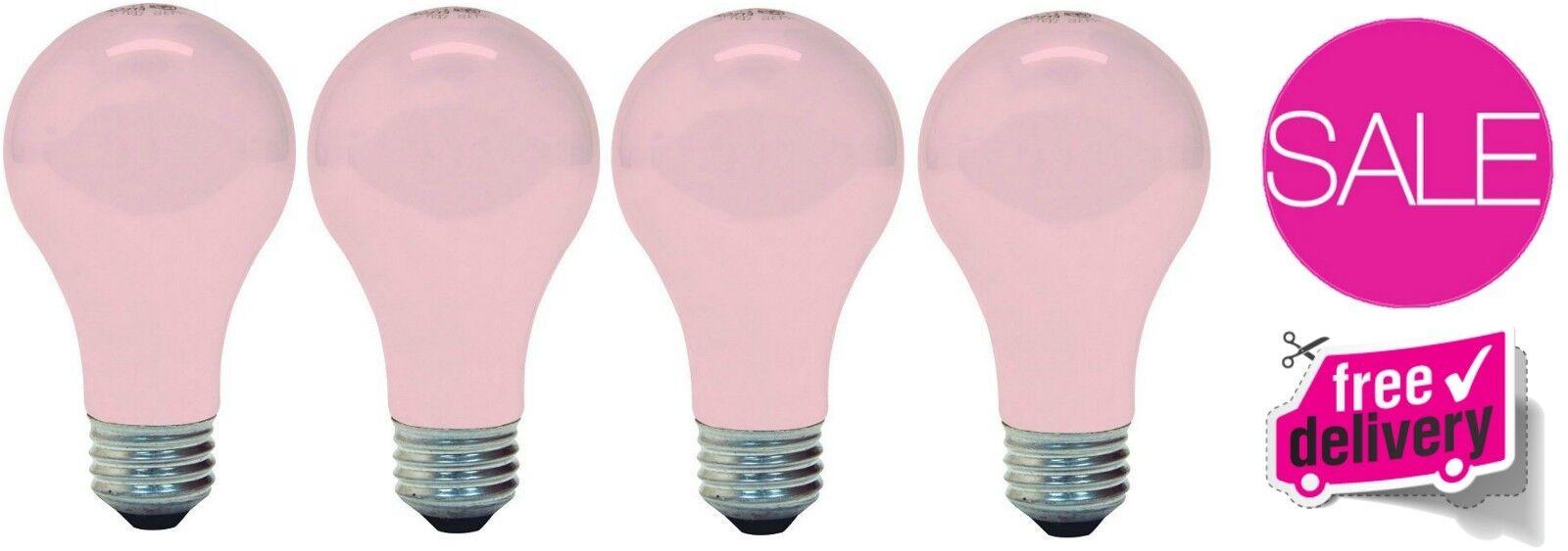4 Pack GE Soft Pink Light Bulb 60W 675 Lumens Medium Base Lo