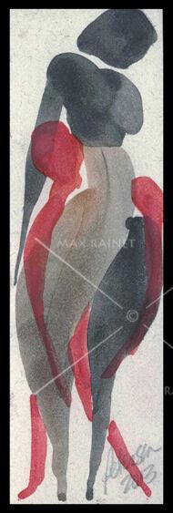 Figures Ser 19 Beauty Woman's Curve C PETERSON Original Watercolor PAINTING ACEO