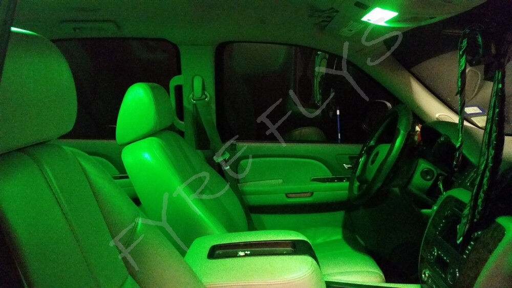 7x Green Led Lights Interior Package Kit For 2010 2014