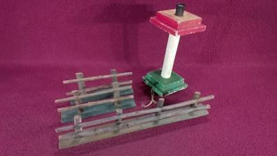 VINTAGE WOOD DILCO LAMP POST & 3 SPLIT RAIL FENCE SECTIONS - HILL COMPANY
