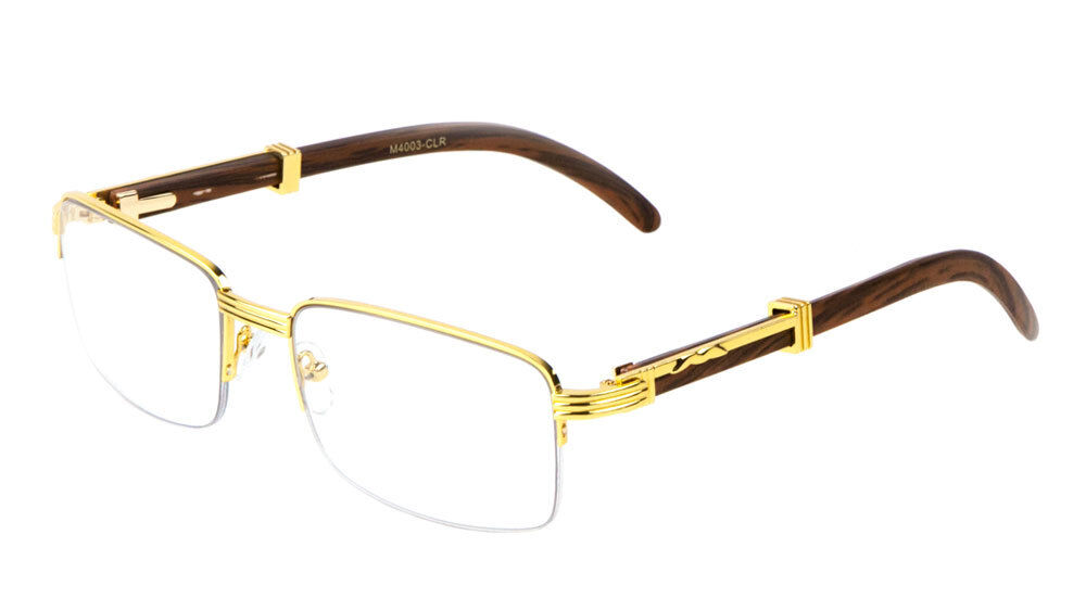 Mens Women Retro Vintage Clear Lens Gold Wood Frame Fashion