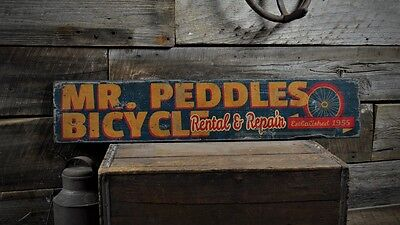 Custom Bicycle Rental & Repair Sign - Rustic Hand Made Vintage Wooden ENS1000494 - Custome Rentals