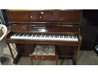 Piano & Stool - Vintage Burdett Of London Upright Oversprung With Iron Frame