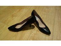 Dune black leather stiletto shoes size 8