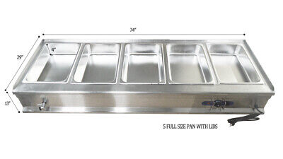 5 Wells Steam Table Full Size Pan Stainless Steel Food Warmer Buffet Home Party