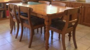 Dining table and 6 chairs, solid pine