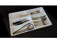 White cutlery utensils storage tray x 2