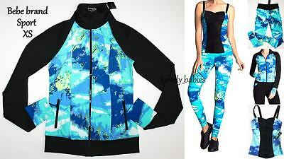 NWT BEBE Woman Sport Top Pant Bottom Jacket Athletic 3pc Set Workout Yoga Sz. XS
