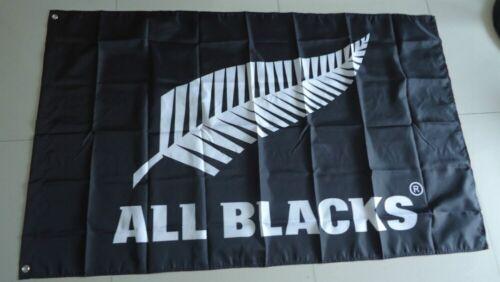 New 90x150cm New Zealand All Blacks Black Silver Fern Flag Banner