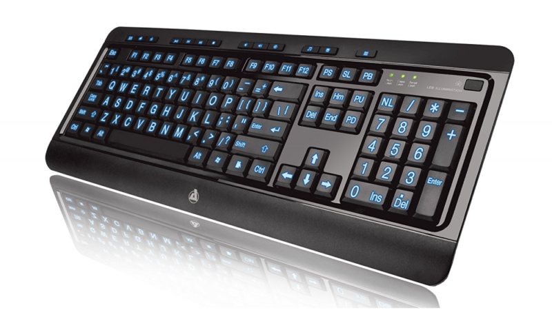 Azio Large Print Tri-Color Backlit Wired Keyboard
