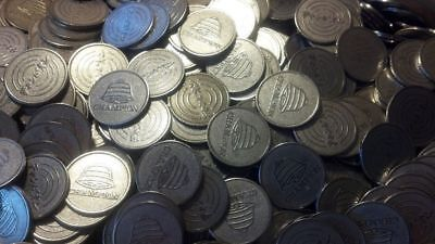 500 USED Assorted SILVER Quarter 25mm 25 cent size Pachislo Slot Machine Tokens for sale  Shipping to Canada