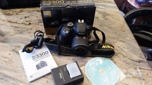 Nikon D3300 with bag, 2 Batteries, charger and 18-55mm lens.