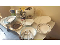 toaster sandwich plates bowls mugs cutlery etc